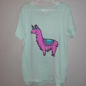 Children's Place Llama Flip Sequin Tee Top T-Shirt